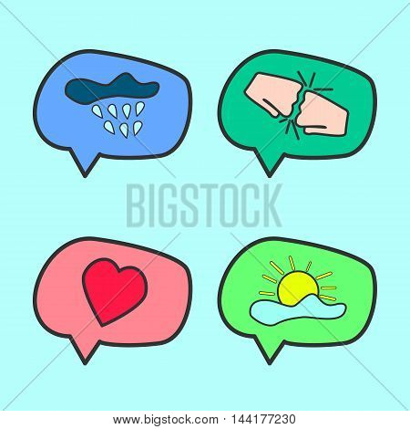 Discussion flat icons set on cartoom style