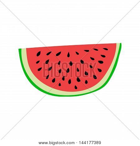 Colorful, ripe and juicy watermelon slice. Cartoon style vector illustration