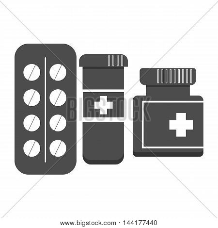 Vector black medical pills icon set sign