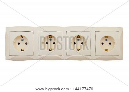 Electric sockets block of four connection points. Interlocked electrical outlets isolated on a white background.