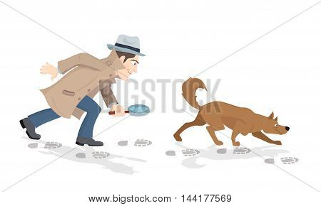 Vector cartoon of detective with magnifying glass and tracker dog hunting market trends.