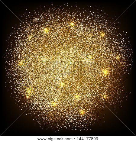 Gold glitter splash on black background. Vector illustration.