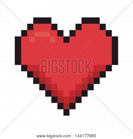 heart love romantic pixel passion symbol icon design vector illustration