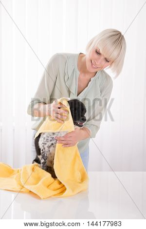 Young Happy Woman Wiping Her Dog With Towel
