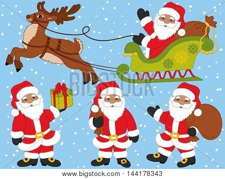 Vector African American Santa Claus set with reindeer, gift box, sacks and sledge