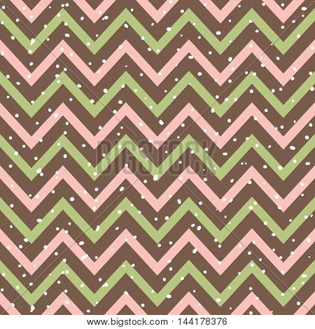 Vector snowy chevron seamless pattern in pink, green and brown color