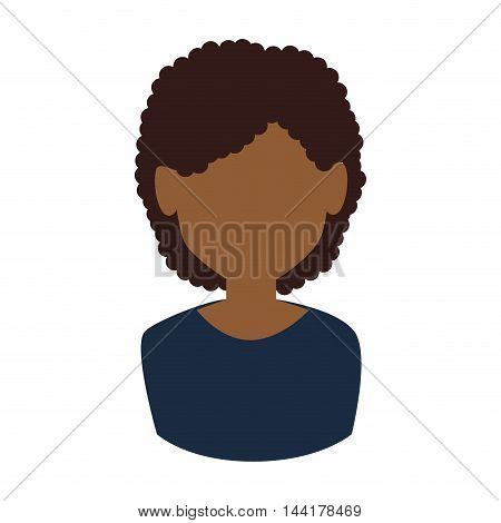 afro woman avatar face head female person vector illustration