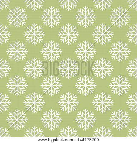 Vector white snowflakes seamless pattern on green background