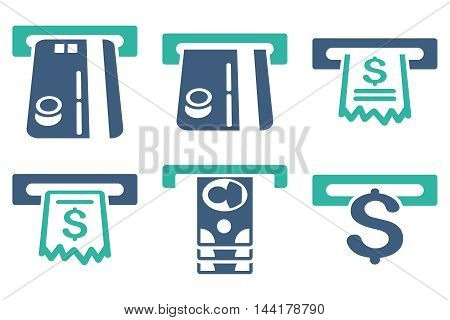 ATM Slot vector icons. Pictogram style is bicolor cobalt and cyan flat icons with rounded angles on a white background.