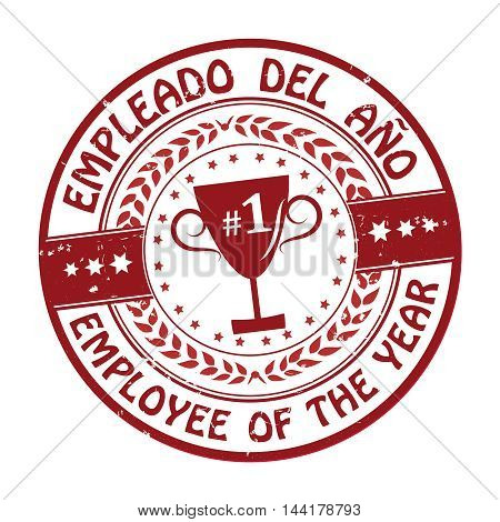 Employee of the year (Text in English and Spanish) - grunge label, also for print.