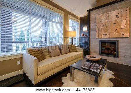 Modern bright living room with fireplace and sitting area. Interior design.