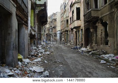 Abandoned old buildings and streets in Istanbul - Turkey. Ruins street background. Tarlabasi neighborhood in Istanbul's Beyoglu district Urban renewal appears abandoned buildings will be rebuilt.