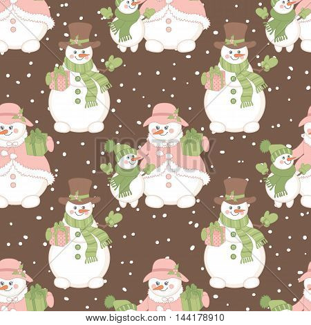 Vector Christmas seamless pattern with snowmen and gift boxes