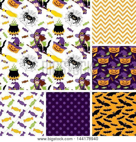 Vector set of Halloween seamless patterns with witch, pumpkin, spider, moon and bats