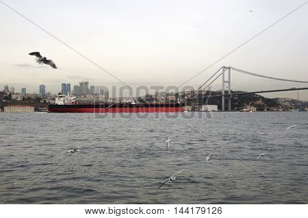 Turkey tankers transiting the Bosporus. The Bosphorus Strait is a key point for maritime transit of tanker vessels