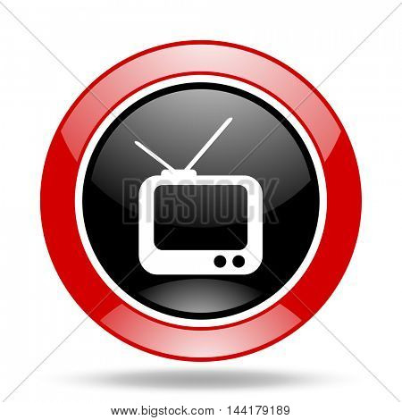 tv round glossy red and black web icon