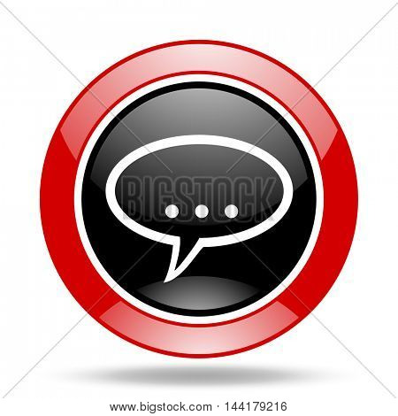 forum round glossy red and black web icon