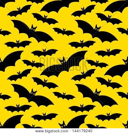 Vector Halloween seamless pattern with the moon and bats