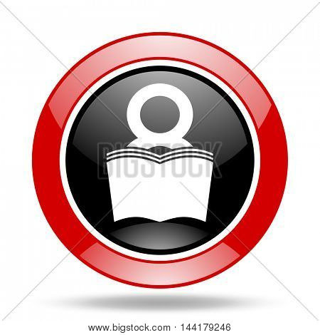 book round glossy red and black web icon