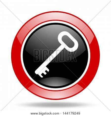 key round glossy red and black web icon