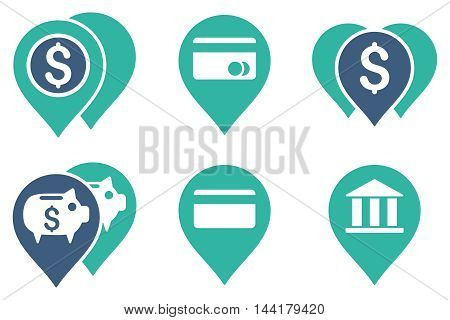 Bank Map Markers vector icons. Pictogram style is bicolor cobalt and cyan flat icons with rounded angles on a white background.