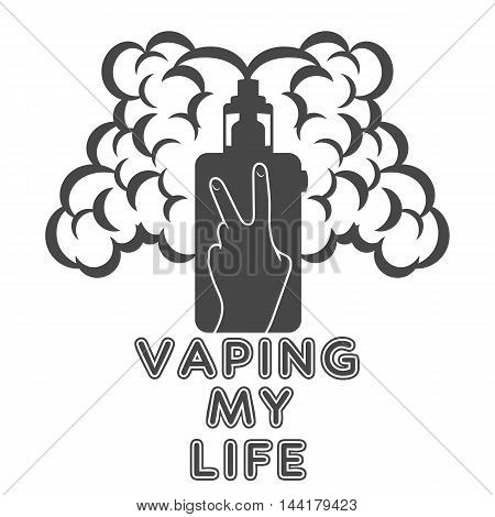 Electronic Cigarette with steam which depicts tin Victoria and inscriptions, vaping my life