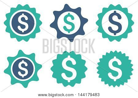 Bank Seal vector icons. Pictogram style is bicolor cobalt and cyan flat icons with rounded angles on a white background.
