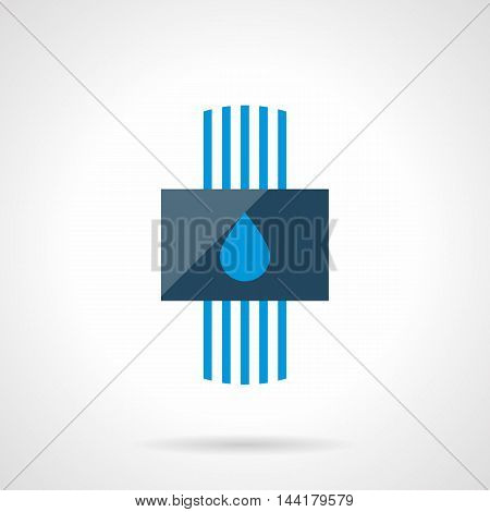 Conceptual sign of water heating system with blue pipes and drop symbol. Alternative efficiency technology for house climate. Heated floor theme. Modern style flat colored vector icon.
