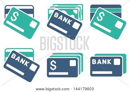 Banking Cards vector icons. Pictogram style is bicolor cobalt and cyan flat icons with rounded angles on a white background.