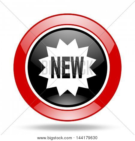 new round glossy red and black web icon