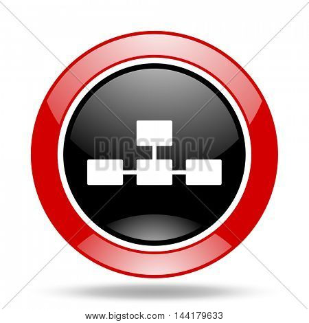 database round glossy red and black web icon