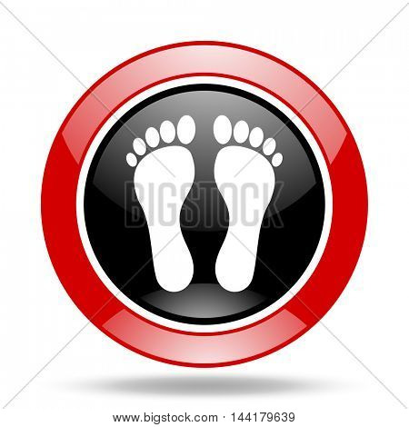 foot round glossy red and black web icon