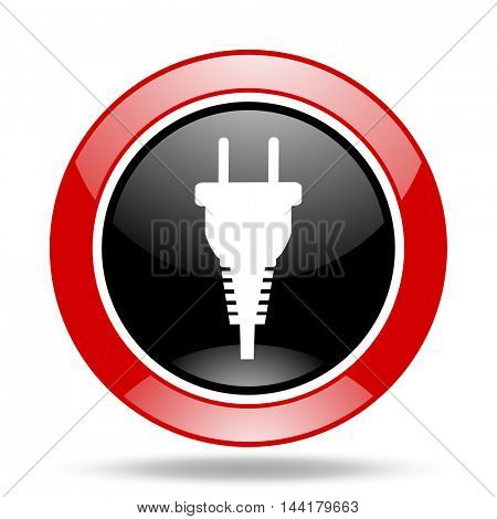 plug round glossy red and black web icon