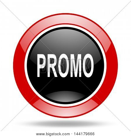 promo round glossy red and black web icon