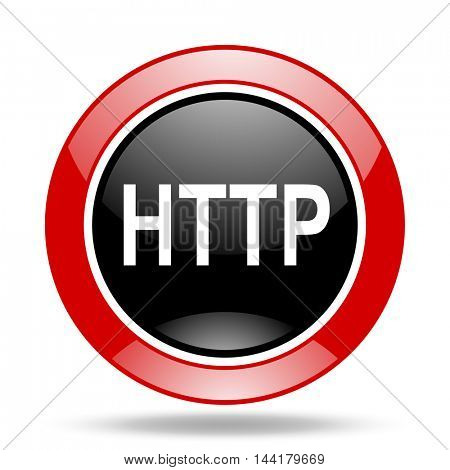 http round glossy red and black web icon