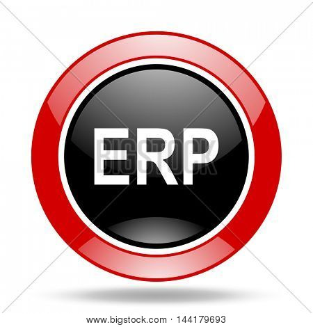erp round glossy red and black web icon