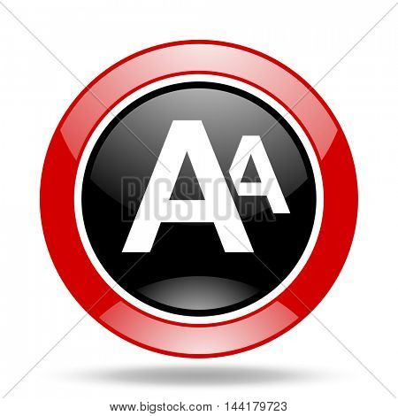 alphabet round glossy red and black web icon