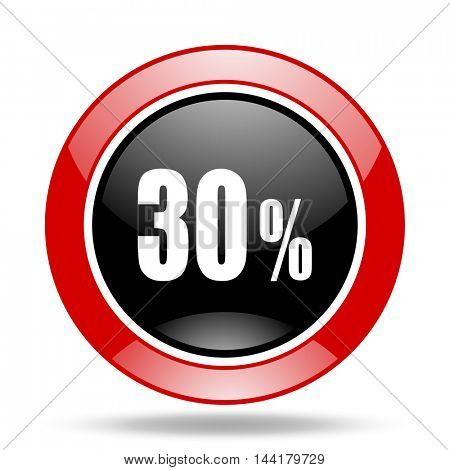 30 percent round glossy red and black web icon