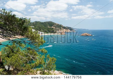 View Of Tossa Bay In The Summer Day, Costa Brava, Catalunya, Spain
