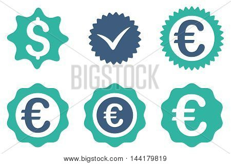 Banking Stamp vector icons. Pictogram style is bicolor cobalt and cyan flat icons with rounded angles on a white background.