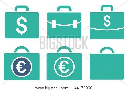 Business Case vector icons. Pictogram style is bicolor cobalt and cyan flat icons with rounded angles on a white background.