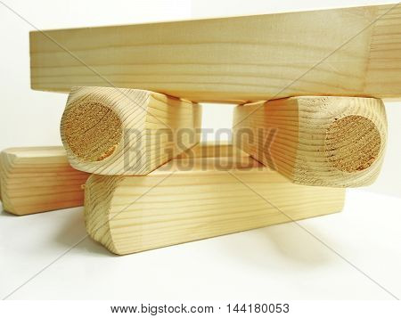 Wooden blanks for carving with some instruments.