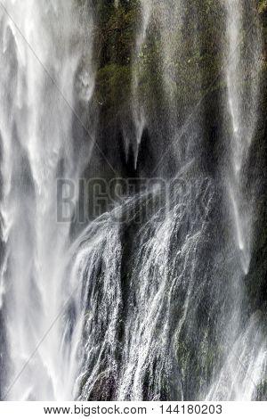 big waterfall detail outdoor sunny day closeup
