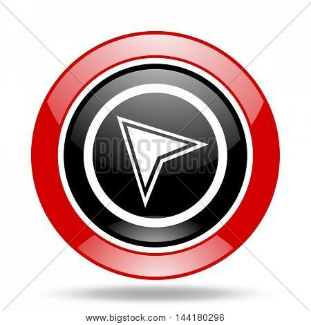 navigation round glossy red and black web icon