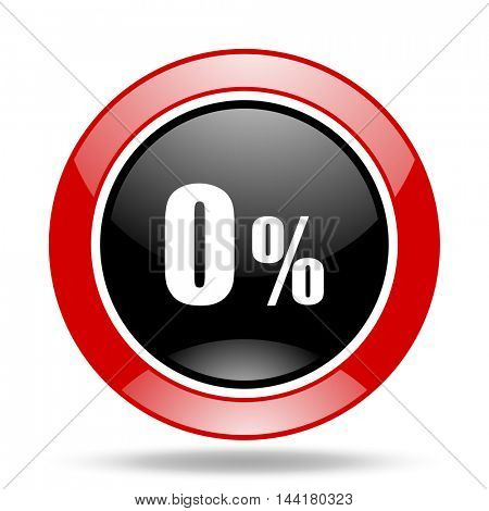 0 percent round glossy red and black web icon