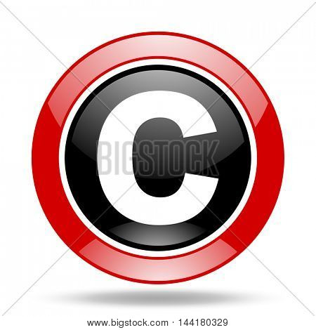 copyright round glossy red and black web icon