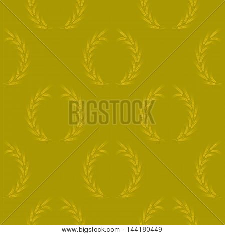 Yellow Wheat Seamless Pattern. Organic Natural Cereal Spikes