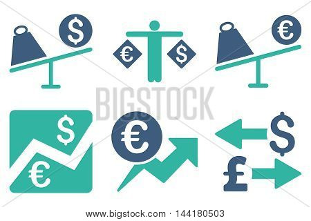 Currency Trading vector icons. Pictogram style is bicolor cobalt and cyan flat icons with rounded angles on a white background.