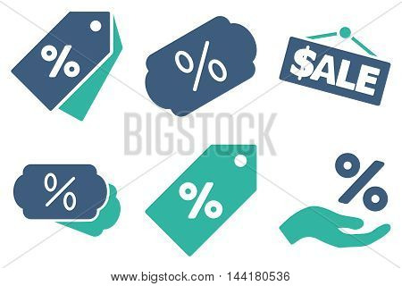 Discount Percent vector icons. Pictogram style is bicolor cobalt and cyan flat icons with rounded angles on a white background.