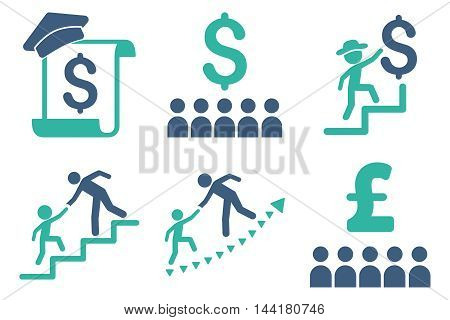 Financial Education vector icons. Pictogram style is bicolor cobalt and cyan flat icons with rounded angles on a white background.